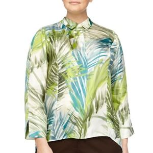 Lafayette 148 Cori Palm Silk Button Front Blouse